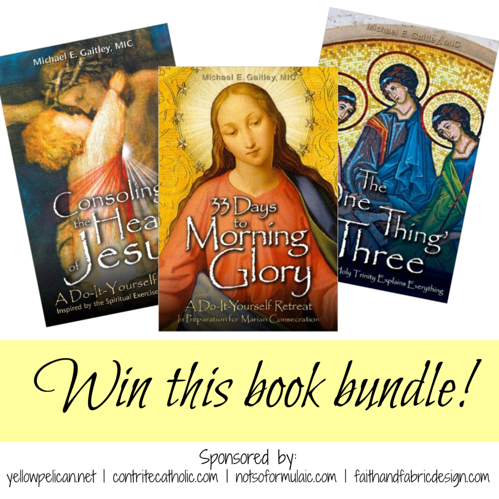 Win this book bundle! Three of Fr. Michael Gaitely's books including 33 Days to Morning Glory, Consoling the Heart of Jesus, and The One Thing is Three.