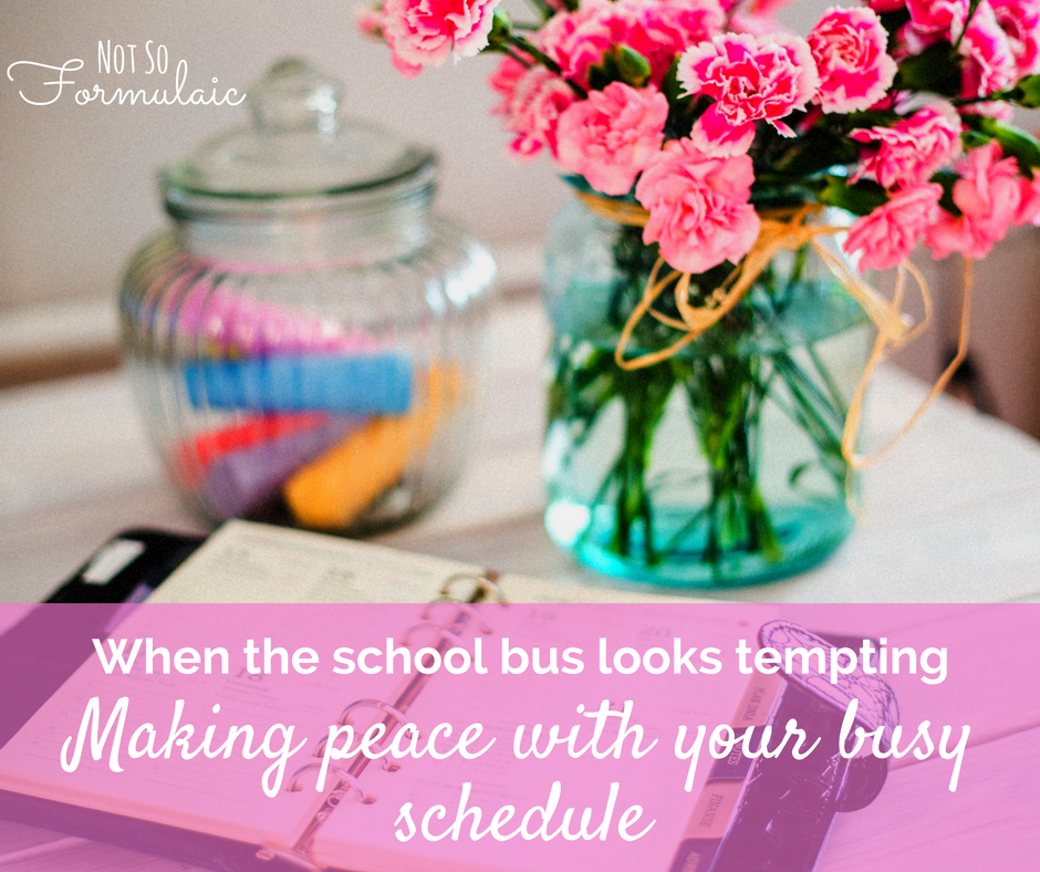 Homeschool moms are busy. School busy envy (or thinking about how much more you could get done if only the kids were on that bus) can sneak up on you. Here's how to make peace with your busy schedule, from one homeschooling mom to another.