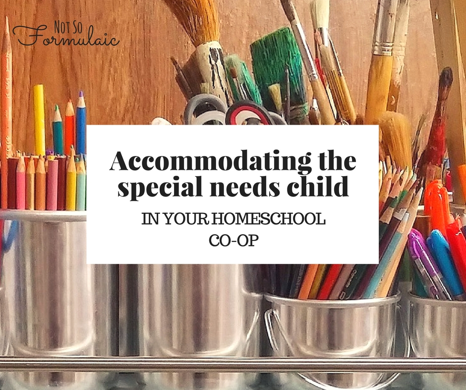 Accommodations aren't designed to give students an unfair advantage. They level the playing field, giving every student a chance to succeed. Here are six tips for accommodating the special needs child in your homeschool coop.