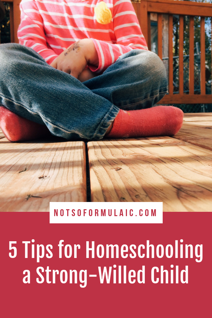Are you homeschooling a strong-willed child? I am, too, and believe me when I say it can be done. Here are five tips to help you successfully homeschool your strong-willed child. #homeschooling #homeschooltips #strongwilledchild