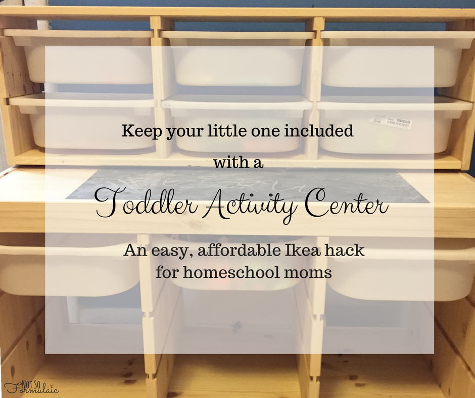 Include your toddler in your homeschool with this affordable toddler activity center. It's an Ikea hack with a lightbox, sensory bin, toy storage and a magnetic chalkboard surface.