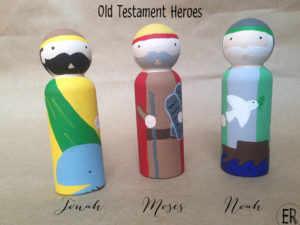 Find your son's favorite or patron saint at EmmausRoad Peg Dolls