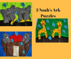 Jacob's Toy Box and Books' felt Noah's ark puzzles are perfect for little hands.