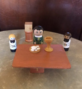 Help your son learn about vocations through play with this darling peg doll Mass set.
