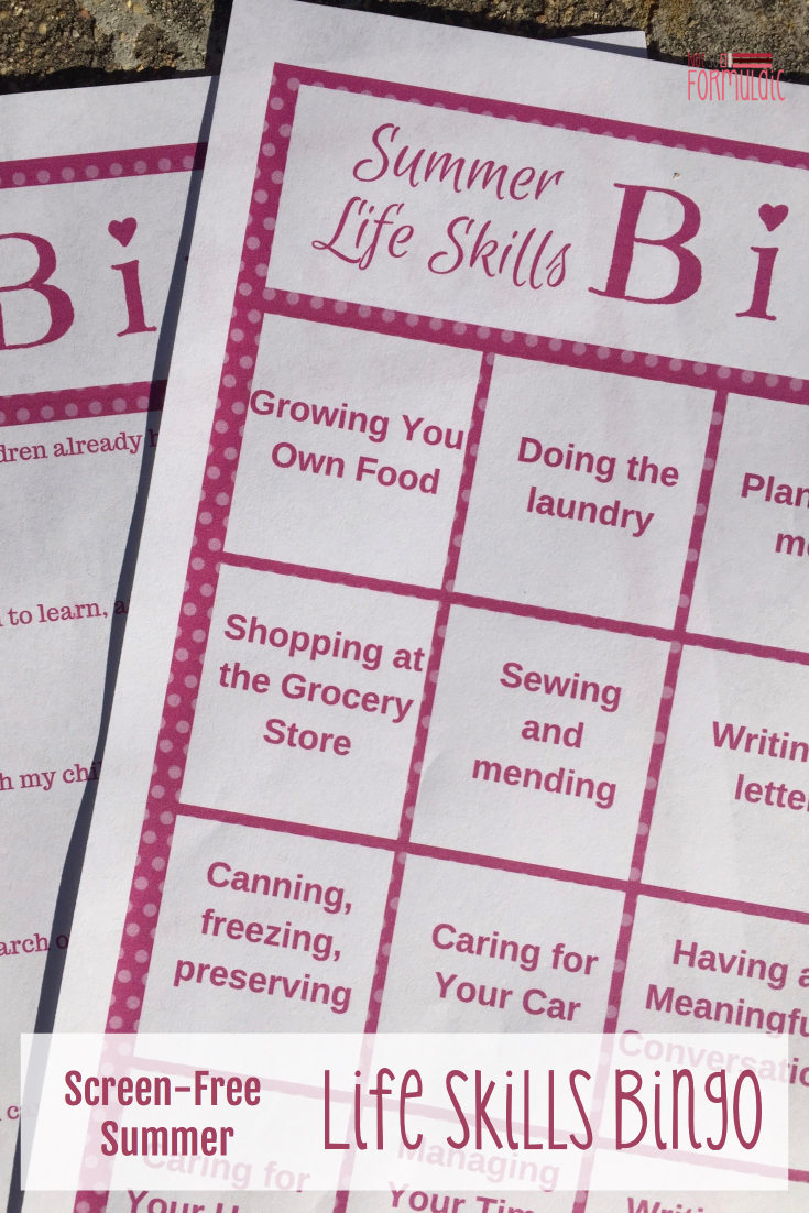 We're having a screen-free summer with life skills bingo. Join me and fifteen fantastic bloggers as we teach our kids to grow their own food, manage a household, draft up a business plan, and more - all with the help of a free Life Skills Bingo printable pack.