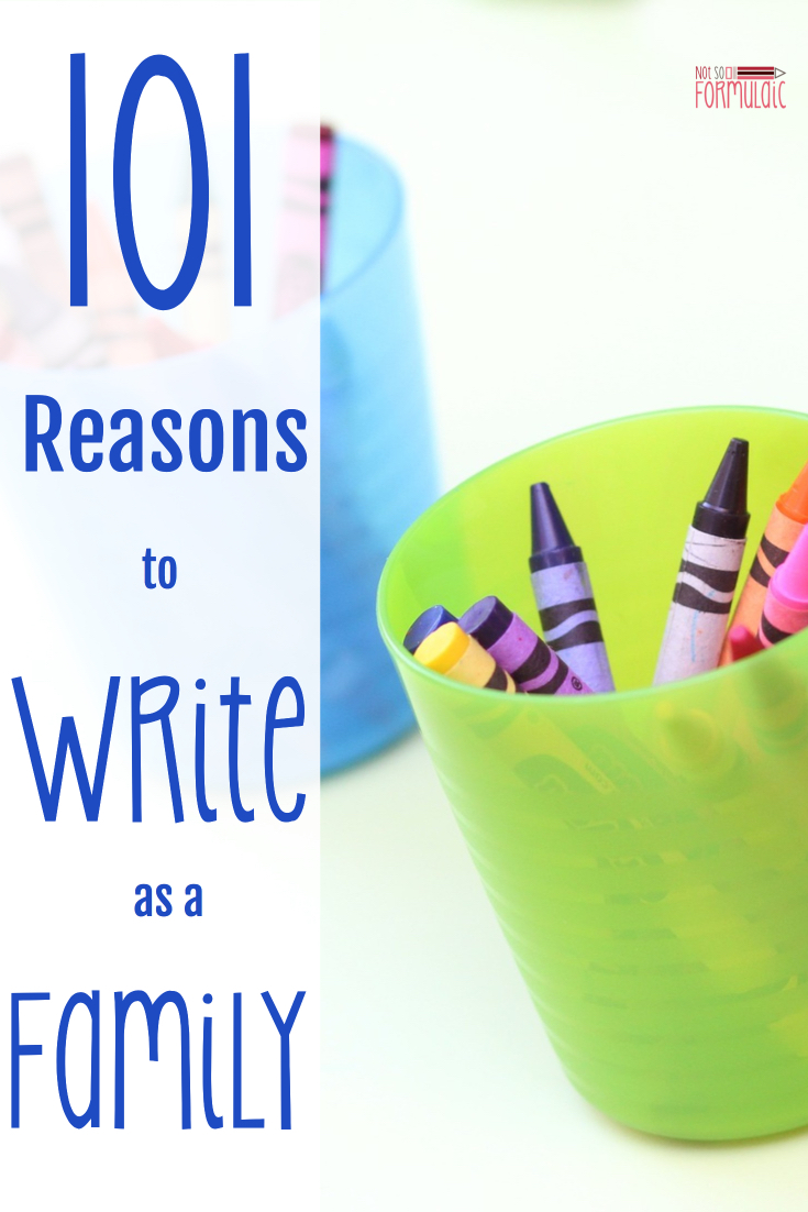We all know reading aloud to our children is important, but what about writing with them, too? Here are 101 reasons to write as a family, plus the introduction of my brand new series, Write Allowed.