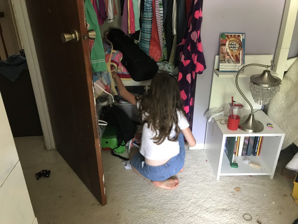 My seven-year-old finishing up her task
