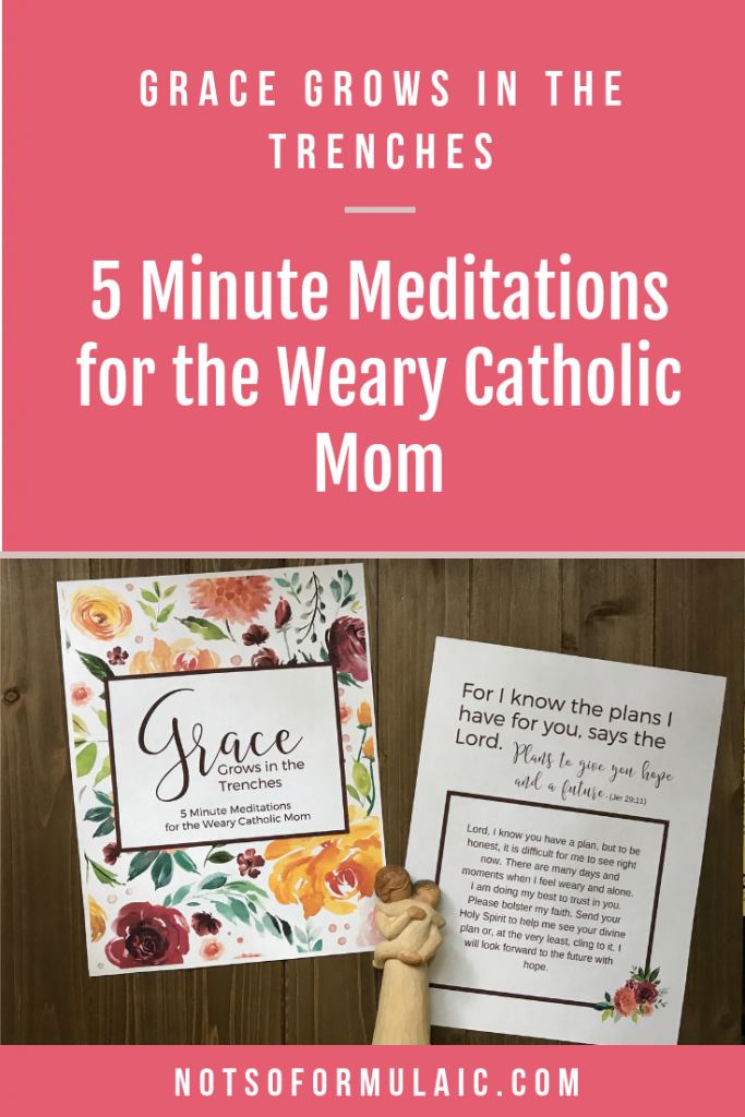 Grace grows in the trenches of motherhood, in the daily struggles of raising saints for God. If you are feeling broken, worn down, and worthless, rest in his embraces. Check out these 5-minute meditations for the weary Catholic mom.